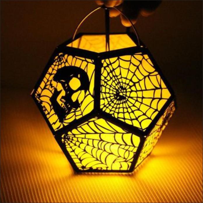 Лампа из бумаги на Хэллоуин векторный макет для лазерной резки