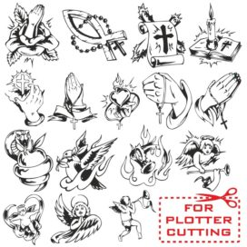 Collection of vector templates for religious tattoos
