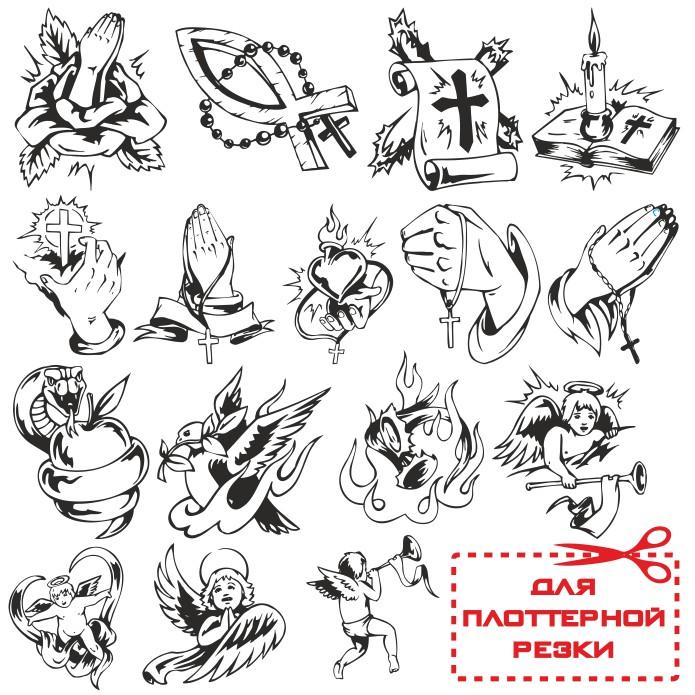 религиозные татуировки векторные макеты для каталогов тату салонов