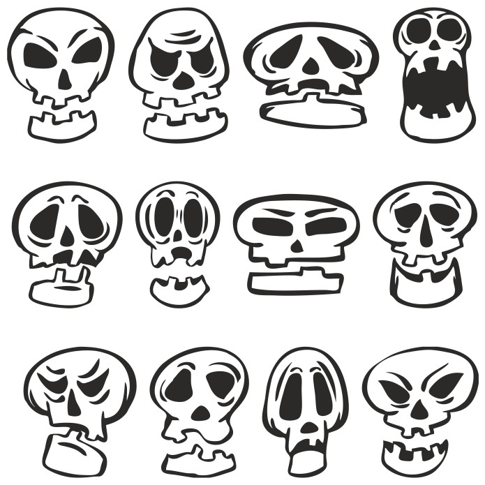 Мультяшные черепа для Хэллоуина векторный клипарт