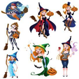Красивые векторные ведьмочки для Хэллоуина