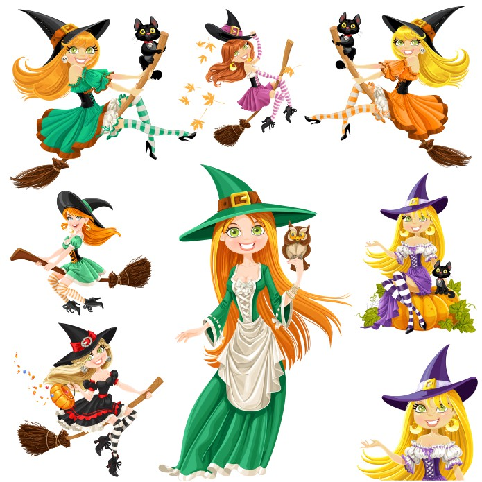 Witch pictures vector clipart free