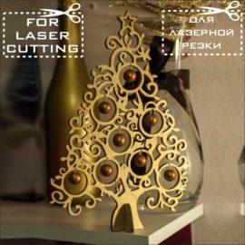 Векторный макет новогодней елки из фанеры №2
