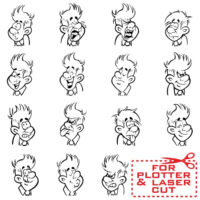 cartoon faces - templates for plotter cutting