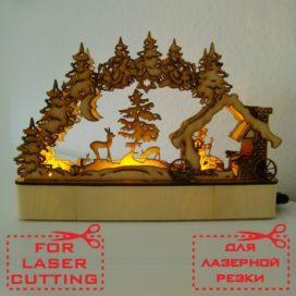 Новогодняя лампа — «Зимний пейзаж», макет для лазерной резки