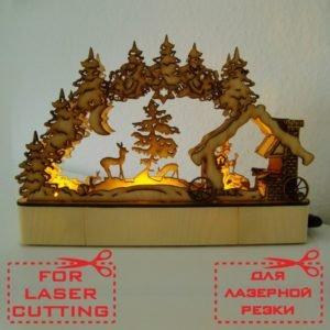 Настольная новогодняя лампа макет для лазерной резки