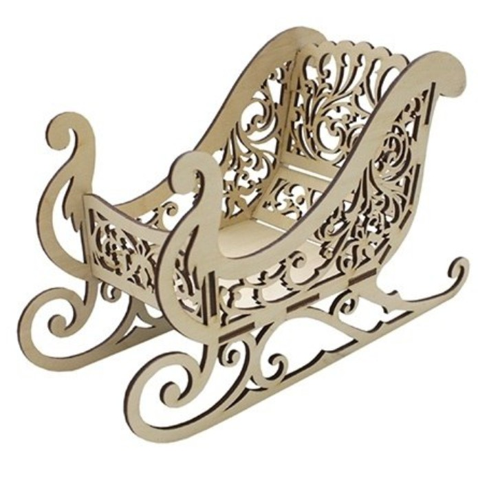 Santa sleigh template for laser cutting plywood: download