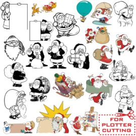 Santa Clauses: vector clipart for plotter cutting