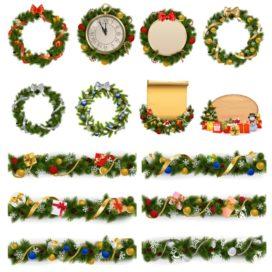 Различные новогодние венки и гирлянды для декора