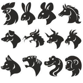 Силуэты голов животных по годам из восточного календаря