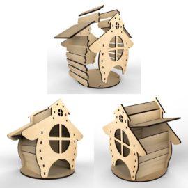 Чайный домик — Избушка №2: Векторный макет для лазерной резки