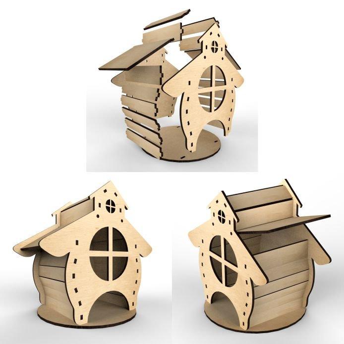 Векторная схема чайного домика для лазерной резки