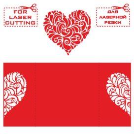 Макет открытки с сердцем: Шаблон Валентинки для лазерной резки