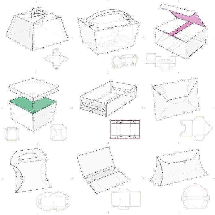 развертки различных коробочек скачать бесплатно векторные шаблоны
