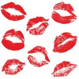 Векторный сборник отпечатков губ