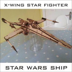 X-Wing векторный макет для лазерной резки фанеры легендарного корабля - космического истребителя