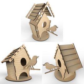 Чайный домик — Скворечник: Векторный макет для лазерной резки фанеры