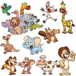 Картинки мультяшных животных векторный клипарт скачать бесплатно