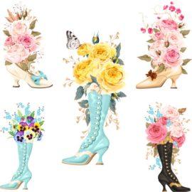 Векторные цветы в туфлях и сапогах. Букеты в обуви