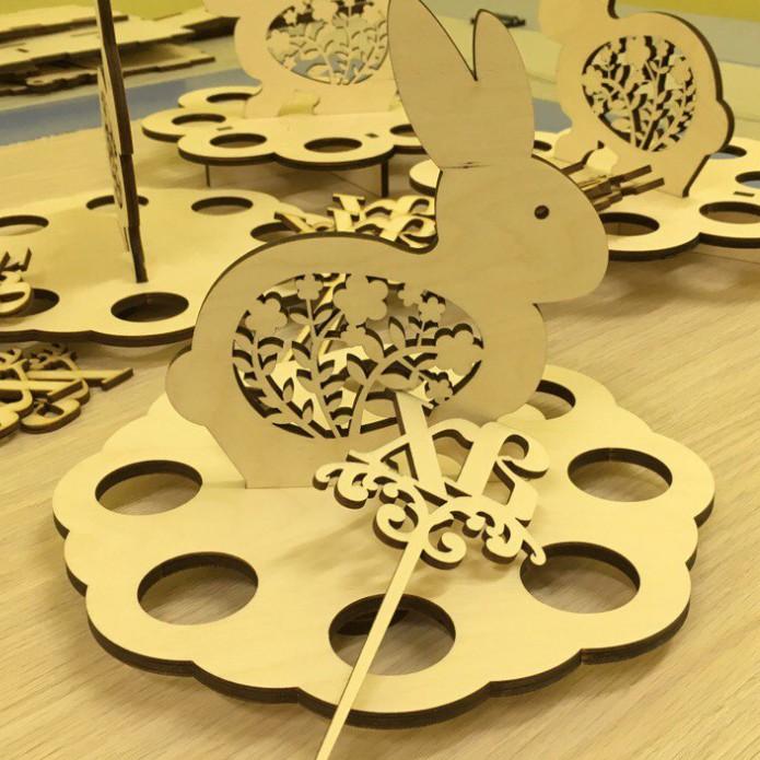 Подставка для яиц из фанеры векторный макет для лазерной резки