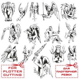 Векторные Ангелы: шаблоны для плоттерной резки