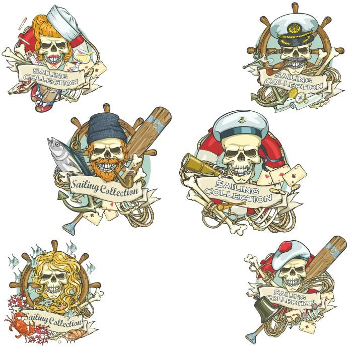 Пиратский череп, векторные картинки, принты на футболки скачать