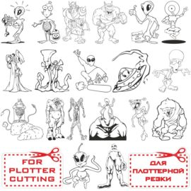 Aliens for plotter cutting: cool vector clipart