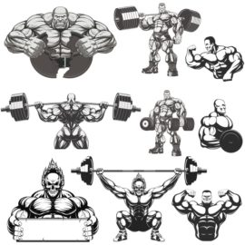 Collection of vector bodybuilders. Part 3
