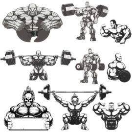 Collection of vector bodybuilders. Part 3