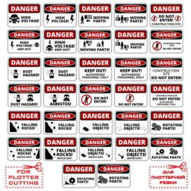 Stickers, labels: Danger!