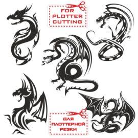 Векторные драконы: эскизы татуировок, клипарт для плоттерной резки