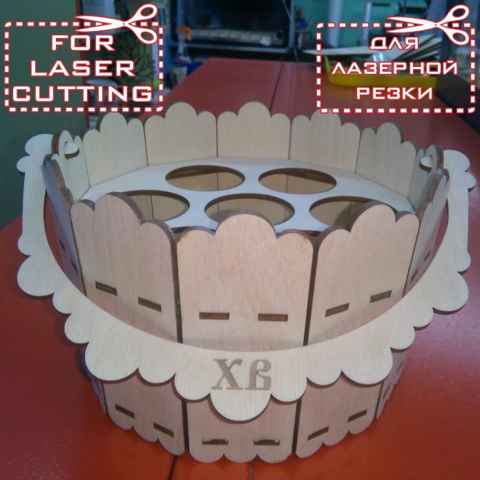 Пасхальное ведерко макет для лазерной резки фанеры скачать cdr, dxf