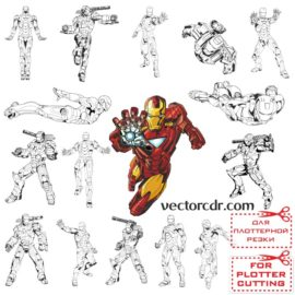 Iron man vector images for plotter cutting