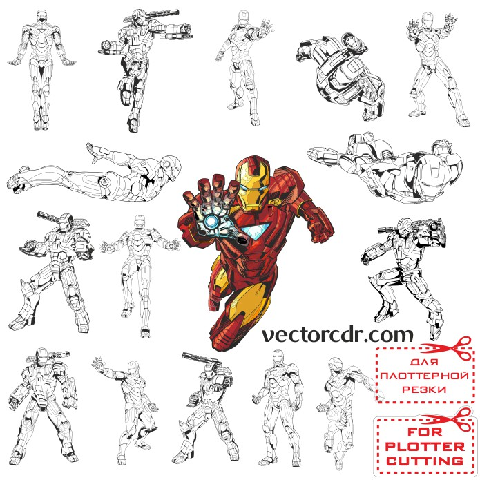 Iron man vector pictures for plotter cutting download free