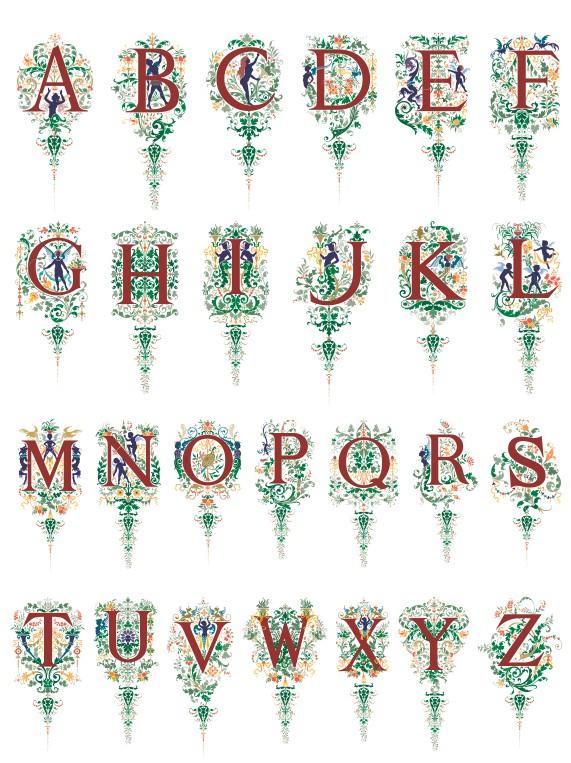 красивый векторный алфавит, алфавит в векторе
