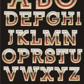 Красивые буквы алфавита с стиле  «Казино»