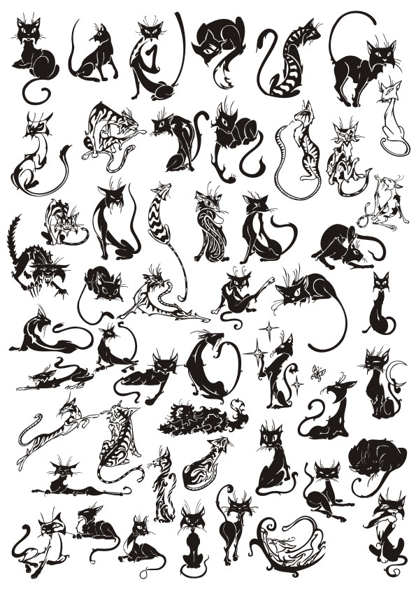 cat vector, silhouette, cat tattoo, black vector