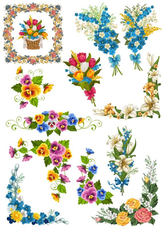 цветочный узор вектор, растения вектор, векторные цветы, цветы клипарт, фиалки вектор, лилия вектор, букет цветов вектор