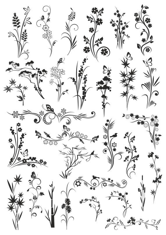 растения векторный клипарт, растения вектор, узоры растений, векторные цветы