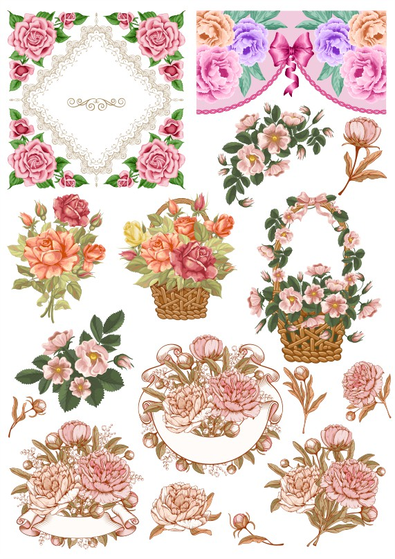 patterns of flowers, flower vector, decor vector, color vector