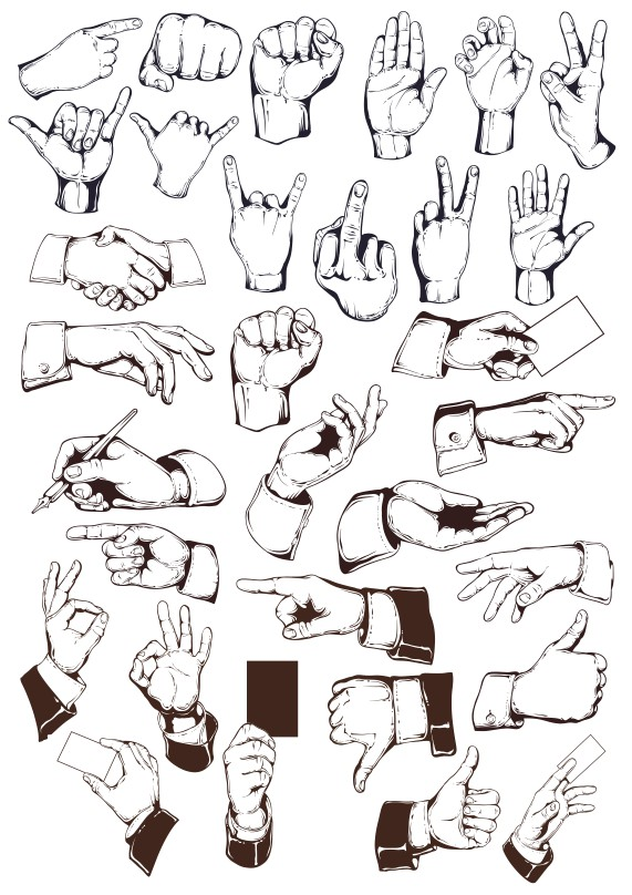 hand vector, hand png, hand drawn vector