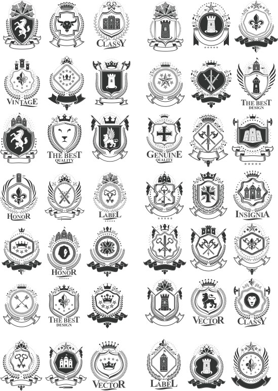 heraldic vector, black vector, heraldic shield, vector collection of heraldry