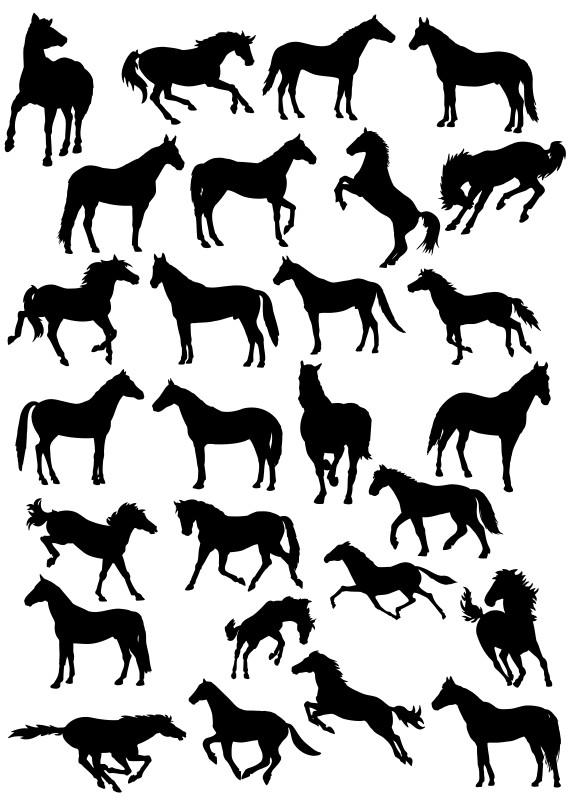векторные силуэты, силуэт лошади, кони в векторе, силуэты лошадей