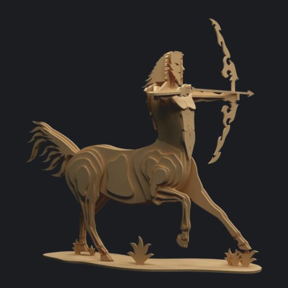 laser cut models, centaur from polywood