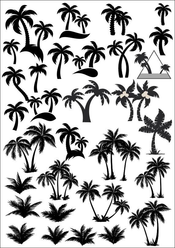 силуэт дерева, пальма вектор, дерево вектор, векторные пальмы