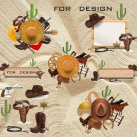 Wild west vector: Selection on the cowboy theme download free!