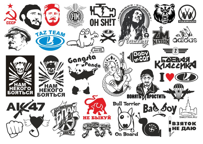 Label vector on cars, sticker vector