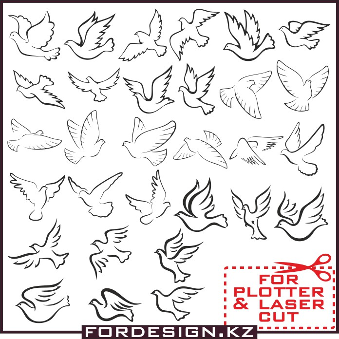 Pigeon Vector, vector pigeons, vector birds, for plotter cut