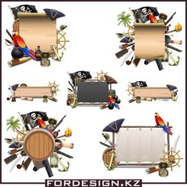Vector clipart collection on a pirate theme