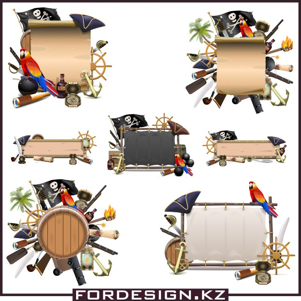 pirate vector, tourism vector, Vector clipart collection